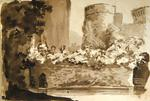 Painting: Part of Ragland Castle from the ditch, July 7th 1837