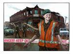 "Matt Gauldie work: ""Earthquake Patrol"" oil and mixed media on canvas, 2010."