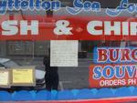 Digital Photograph: Window of Lyttelton Sea Foods on London Street, Lyttelton