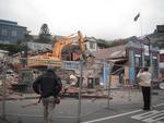 Digital Photograph:  Demolition on  the corner of Canterbury and London Streets, Lyttelton