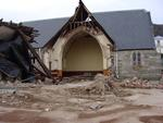 Digital Photograph:  Earthquake damage to St Joseph's Church, Winchester Street, Lyttelton