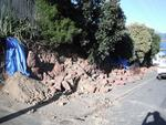 Digital Photograph: Earthquake Damage to Retaining Wall, corner of Oxford and Exeter Streets, Lyttelton