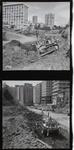 Film negative: International Harvester Company: bulldozer at work, amongst high-rise buildings