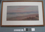 Painting: Sunrise over north New Brighton Beach with Banks Peninsula in the background.