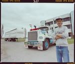 Negative: Freightways Express Truck and Unnamed Man