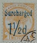Stamp: Samoan One and a half Pence