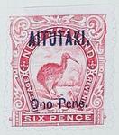 Stamp: New Zealand - Aitutaki Six Pence