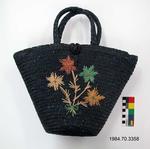 Purse: Navy Straw Bucket Bag