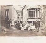 Photograph: Miss S E Barker and Mr Arthur Hawdon Wedding Party on the Steps of Dr A C Barker's House, 10 October 1872