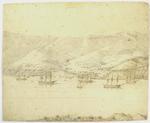 Drawing: Port Lyttelton from Diamond Harbour