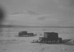 Photograph: Mount Erebus with Two Sleds
