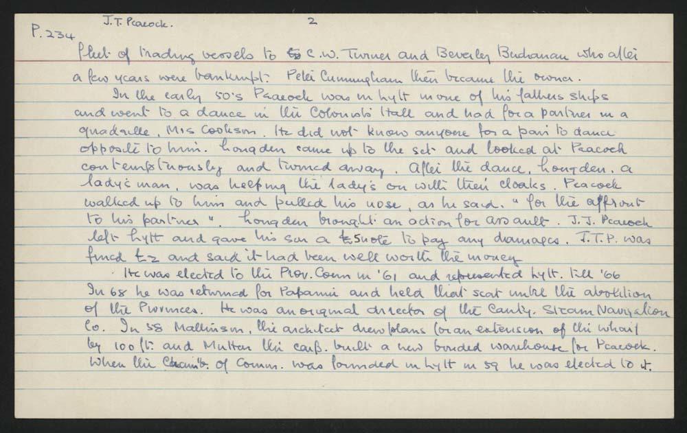 Macdonald Dictionary Record: John Thomas Peacock, Canterbury Museum